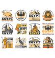 pharaoh pyramids sphinx anubis and ankh symbol vector image