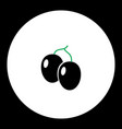 plums fruit simple black and green icon eps10 vector image vector image