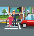 policeman helping grandma crossing the street vector image vector image