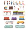 railway decorative icons set vector image vector image