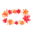 red and orange color maple leaves frame vector image