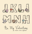 retro valentine alphabet - j k l m n h vector image vector image