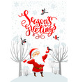 santa snow and bullfinches vector image