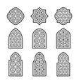 set black arabic ornamental windows vector image vector image