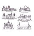 set castles in thin line european buildings vector image vector image