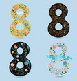 set of folk floral numbers eight vector image vector image