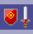 shield and sword attack and defense pixel icons vector image