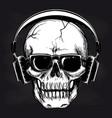 skull and headphones sketch on blackboard vector image vector image