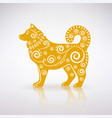 stylized yellow dog with ornament vector image vector image