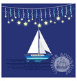 summer adventures travelling yacht with garlands vector image