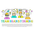 team brainstorming poster vector image vector image