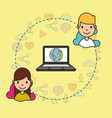 teeenagers with laptop with world on screen vector image vector image