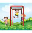 Three kids playing at the park vector image vector image