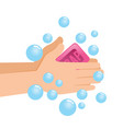 washing pair of hand with soap and bubbles vector image