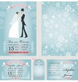 Wedding invitation setBridegroomWinter vector image