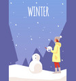 winter card or poster with woman or girl makes vector image vector image
