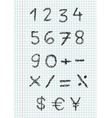scribble numbers on squared pa vector image