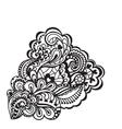Black and white floral design element vector image