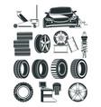 monochrome of tires service symbols vector image