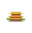 asian temple isolated chinese or japanese pagoda vector image