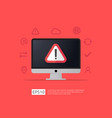 attention warning alert sign on computer with vector image vector image