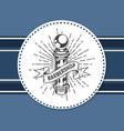 barber pole barbershop blue sticker label logo