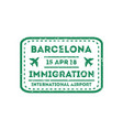 barcelona city visa stamp on passport vector image vector image