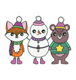 bear fox and snowman with hats and scarf merry vector image vector image