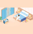 beautiful lady in white bathrobe on double bed vector image