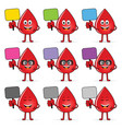 Blood group icon with drop cartoon set