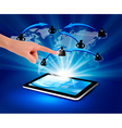 blue background with social network and tablet pc vector image vector image