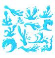 blue water splashes ocean waves spray drops sea vector image vector image