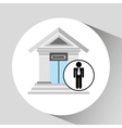 business man bank building icon graphic vector image
