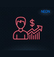 business results line icon dollar sign vector image vector image