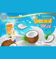 coconut milk ads 3d realistic vector image
