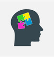 colorful puzzle piece head jigsaw vector image