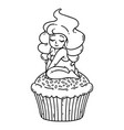 cupcake cream fairy cute girl on cupcake vector image
