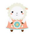cute sheep dress children style isolated design vector image