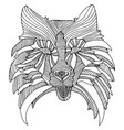 decorative dog head black and white abstract vector image vector image