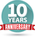 Flat design 10 years anniversary label with red vector image