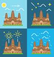 Flat design 4 styles of Angkor Wat Cambodia vector image vector image
