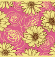 floral seamless pattern over pink background vector image vector image