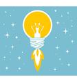 flying yellow lightbulb on blue backgroun vector image vector image