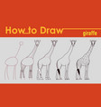 giraffe draw tutorial vector image vector image