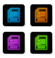 glowing neon doc file document icon download doc vector image vector image