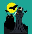 halloween vampire banner vector image vector image