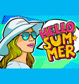 hello summer message in pop art style vector image