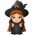 little girl cartoon wearing witch costume vector image