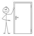 man or businessman showing entrance or exit door