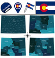map of colorado with regions vector image vector image